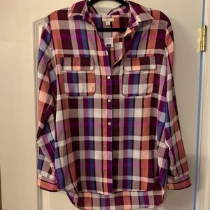 GAP plaid blouse, size M, NEW with tags